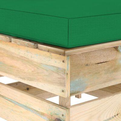 vidaXL 4 részes zöld impregnált fa kerti társalgó párnákkal