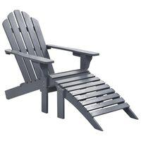 vidaXL szürke fa kerti szék zsámollyal