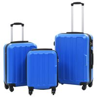 vidaXL 3 db kék keményfalú ABS gurulós bőrönd