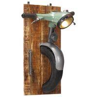 vidaXL robogó-kialakítású vas és tömör mangófa fali lámpa