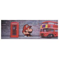 vidaXL többszínű London mintás nyomtatott vászon faliképszett 120x40cm