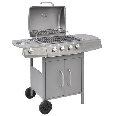 vidaXL ezüst gáz grillsütő 4+1 főzőfelülettel
