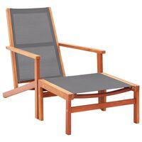 vidaXL szürke tömör eukaliptuszfa és textilén kerti szék lábtartóval