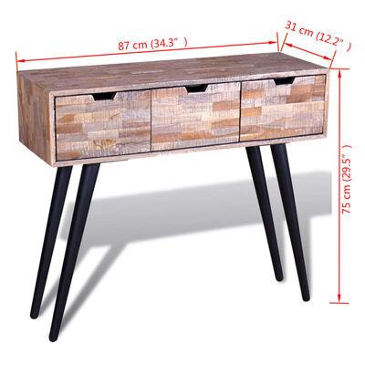 vidaXL háromfiókos újrahasznosított tíkfa tálalóasztal