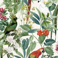 DUTCH WALLCOVERINGS fehér és zöld trópusi madaras tapéta