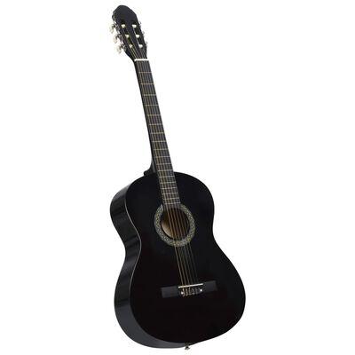 """vidaXL fekete klasszikus hársfa gitár kezdőknek 4/4 39"""""""