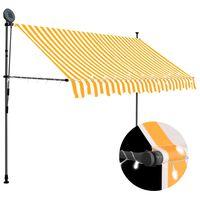 vidaXL fehér-narancssárga kézzel kihúzható LED-es napellenző 300 cm
