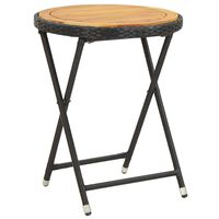 vidaXL fekete polyrattan és tömör akácfa teázóasztal 60 cm