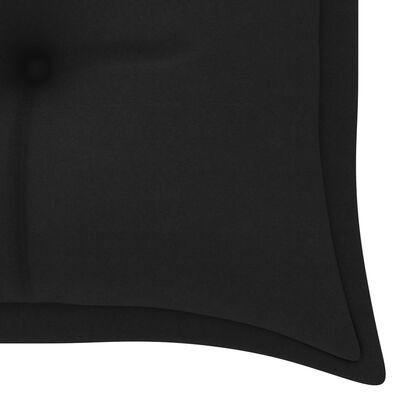 vidaXL tömör tíkfa kerti pad fekete párnával 150 cm