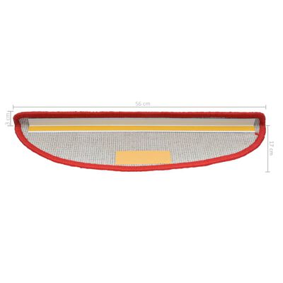 vidaXL 15 darab piros lépcsőszőnyeg 56 x 20 cm