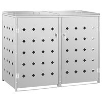 vidaXL rozsdamentes acél tároló két gurítható szemeteskukához 240 L