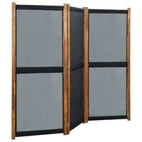 vidaXL 3 paneles fekete térelválasztó 210 x 170 cm