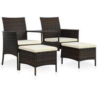 vidaXL barna 2-személyes polyrattan kerti fotel asztallal/zsámolyokkal