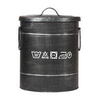 LABEL51 fekete antik szennyes kosár 26 x 26 x 33 cm S