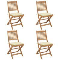 vidaXL 4 db összecsukható tömör akácfa kerti szék párnával