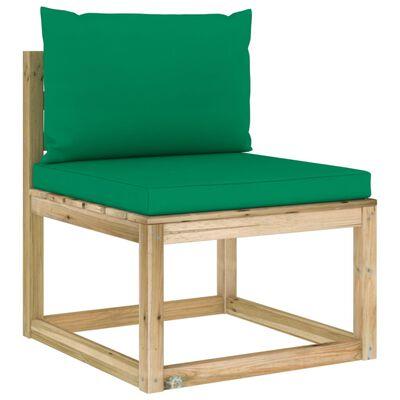 vidaXL zöld impregnált fenyőfa kerti középső kanapé párnákkal
