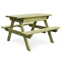 vidaXL impregnált fenyőfa piknik asztal padokkal 90 x 90 x 58 cm