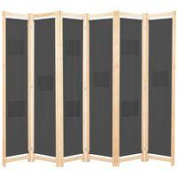 vidaXL szürke 6-paneles szövetparaván 240 x 170 x 4 cm