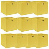 vidaXL 10 db sárga szövet tárolódoboz 32 x 32 x 32 cm