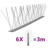 vidaXL 6 db 3 m-es ötsoros rozsdamentes acél madár- és galambtüske