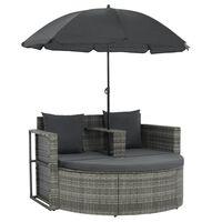 vidaXL szürke kétszemélyes polyrattan kanapé párnákkal és napernyővel