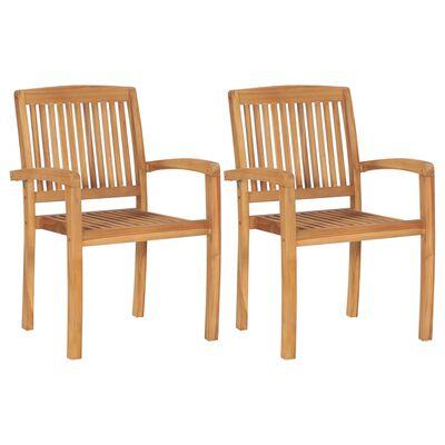 vidaXL 2 db tömör tíkfa kerti szék krémszínű párnákkal