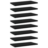 vidaXL 8 db fekete forgácslap könyvespolc 40 x 20 x 1,5 cm