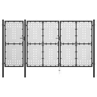vidaXL fekete acél kertkapu 400 x 175 cm