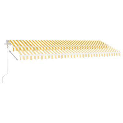 vidaXL sárga-fehér szélérzékelős és LED-es napellenző 500 x 350 cm