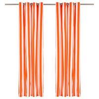 vidaXL 2 db narancssárga csíkos szövetfüggöny fémgyűrűkkel 140x245 cm