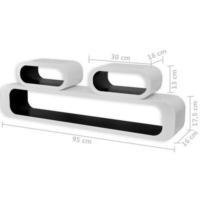 vidaXL 6 db fekete-fehér kocka alakú fali polc