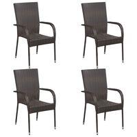 vidaXL 4 db barna rakásolható polyrattan kültéri szék