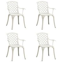 vidaXL 4 db fehér öntött alumínium kerti szék