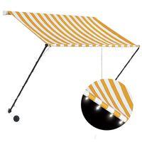 vidaXL feltekerhető sárga és fehér napellenző LED-del 150 x 150 cm