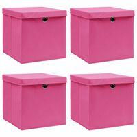 vidaXL 4 db rózsaszín szövet tárolódoboz fedéllel 32 x 32 x 32 cm