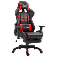vidaXL piros műbőr gamer szék lábtartóval