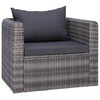 vidaXL szürke polyrattan kerti szék hát- és ülőpárnával