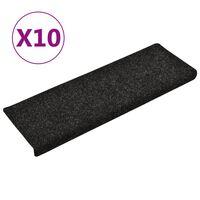 vidaXL 10 db fekete tűlyukasztott lépcsőszőnyeg 65 x 25 cm