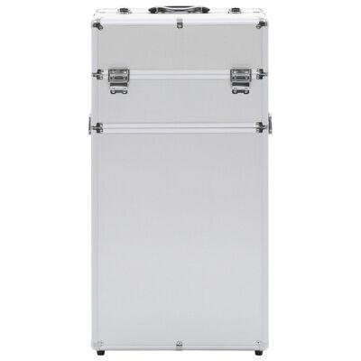 vidaXL ezüstszínű alumínium sminkbőrönd