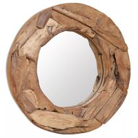 vidaXL dekoratív és kerek tükör tíkfából 60 cm