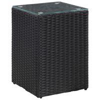 vidaXL fekete polyrattan kisasztal üveg asztallappal 35 x 35 x 52 cm