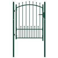vidaXL zöld acél kerítéskapu cövekekkel 100 x 125 cm