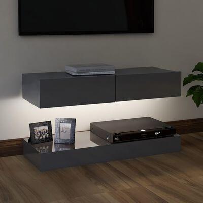 vidaXL magasfényű szürke TV-szekrény LED-lámpákkal 90 x 35 cm