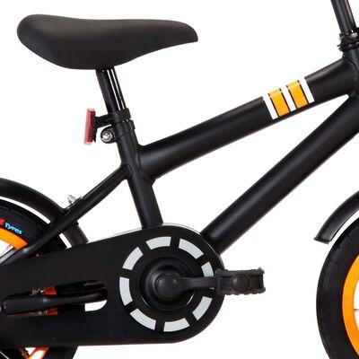 """vidaXL fekete és narancssárga gyerekbicikli elülső hordozóval 12"""""""