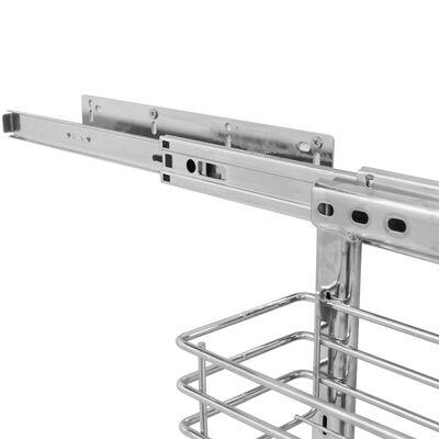 vidaXL ezüstszínű háromszintes kihúzható konyhai drótkosár 47x11x56 cm