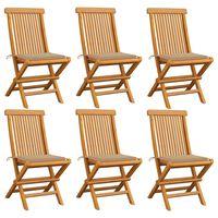vidaXL 6 db tömör tíkfa kerti szék bézs párnával