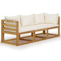 vidaXL 3 személyes tömör akácfa kerti kanapé krémszínű párnával