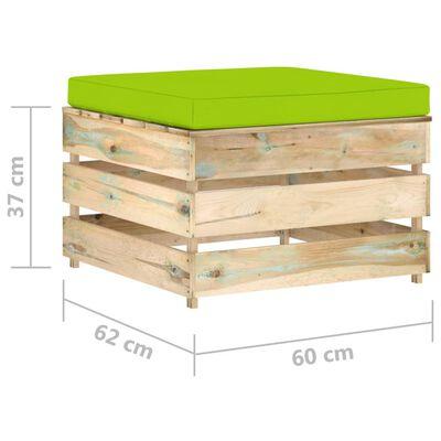vidaXL 3 részes zöld impregnált fa kerti társalgó párnákkal