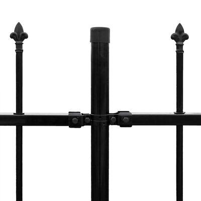 vidaXL fekete hegyes végű biztonsági acélkerítés 600 x 200 cm