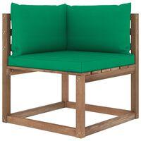 vidaXL kerti raklap sarokkanapé zöld párnákkal